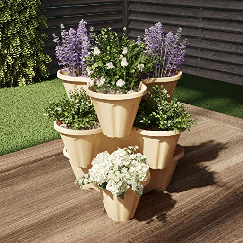 Pure Garden 50-LG5007 Stacking Planter Tower-3-Tier Space Saving Flower Pots, Sand Stone