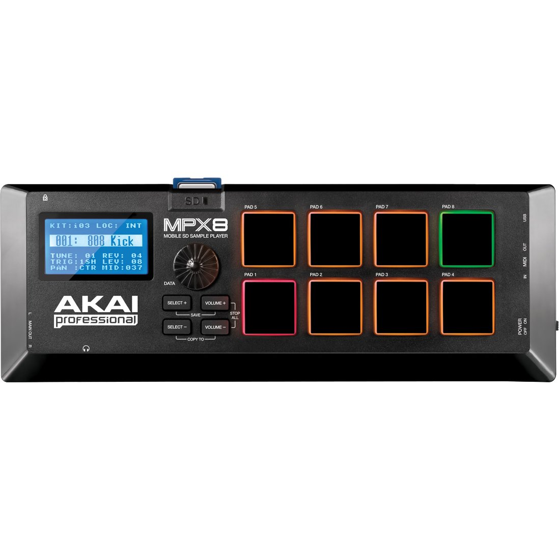AKAI Professional MPX8 Portabler Sample Pad Controller mit 8 Performance Ready Pads & On Board SD Kartenslot inMusic Europe Limited MPX8X110