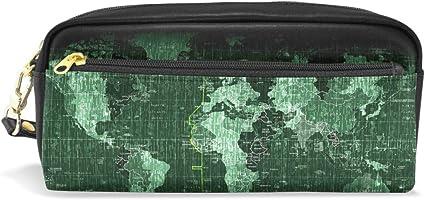 Estuche escolar para lápices con diseño de mapamundi, color verde oscuro: Amazon.es: Oficina y papelería