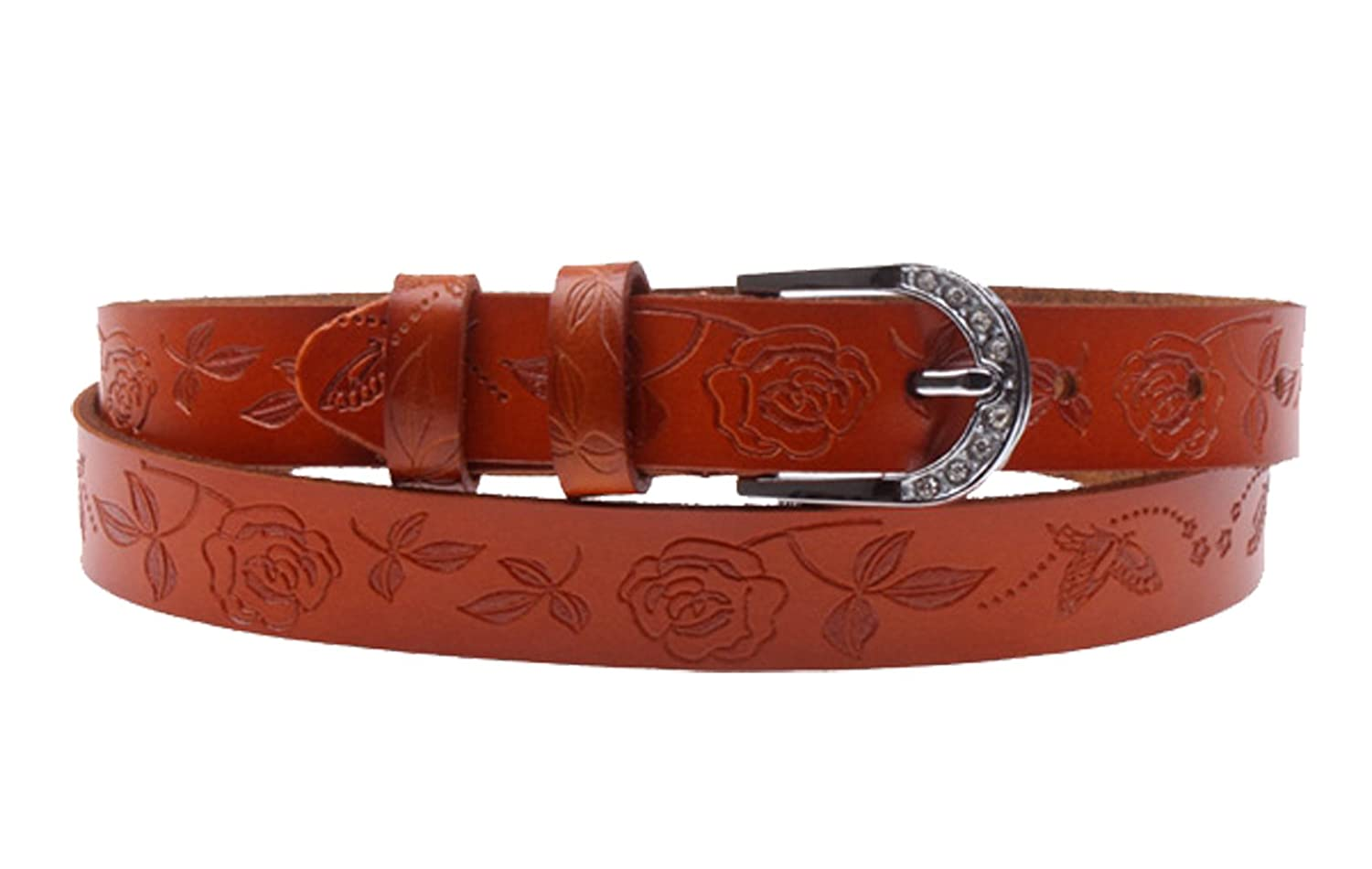 Herebuy - Vintage Carved Leather Western Belt Desiger Belts for Women