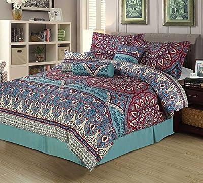 Boho Medallion 7 Piece Bedding Comforter Bed Set Teal Red Pink Mandala