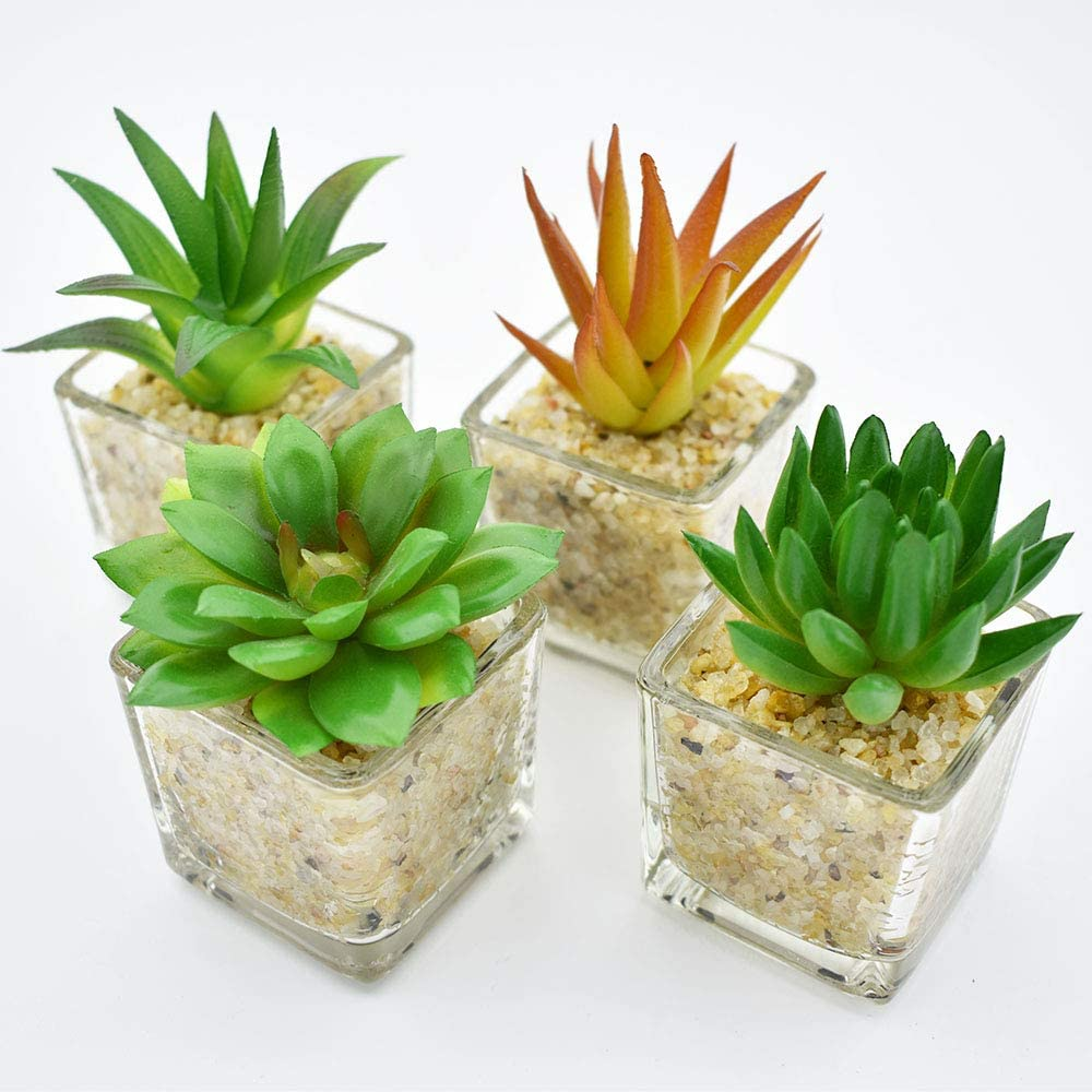"Artificial Succulent Plants Mini Fake Plants Faux Succulent in Glass Pot for Home Office Decoration Assorted Fake Greenery Table Decor 1.97"" x 1.97""(Pack of 4)"