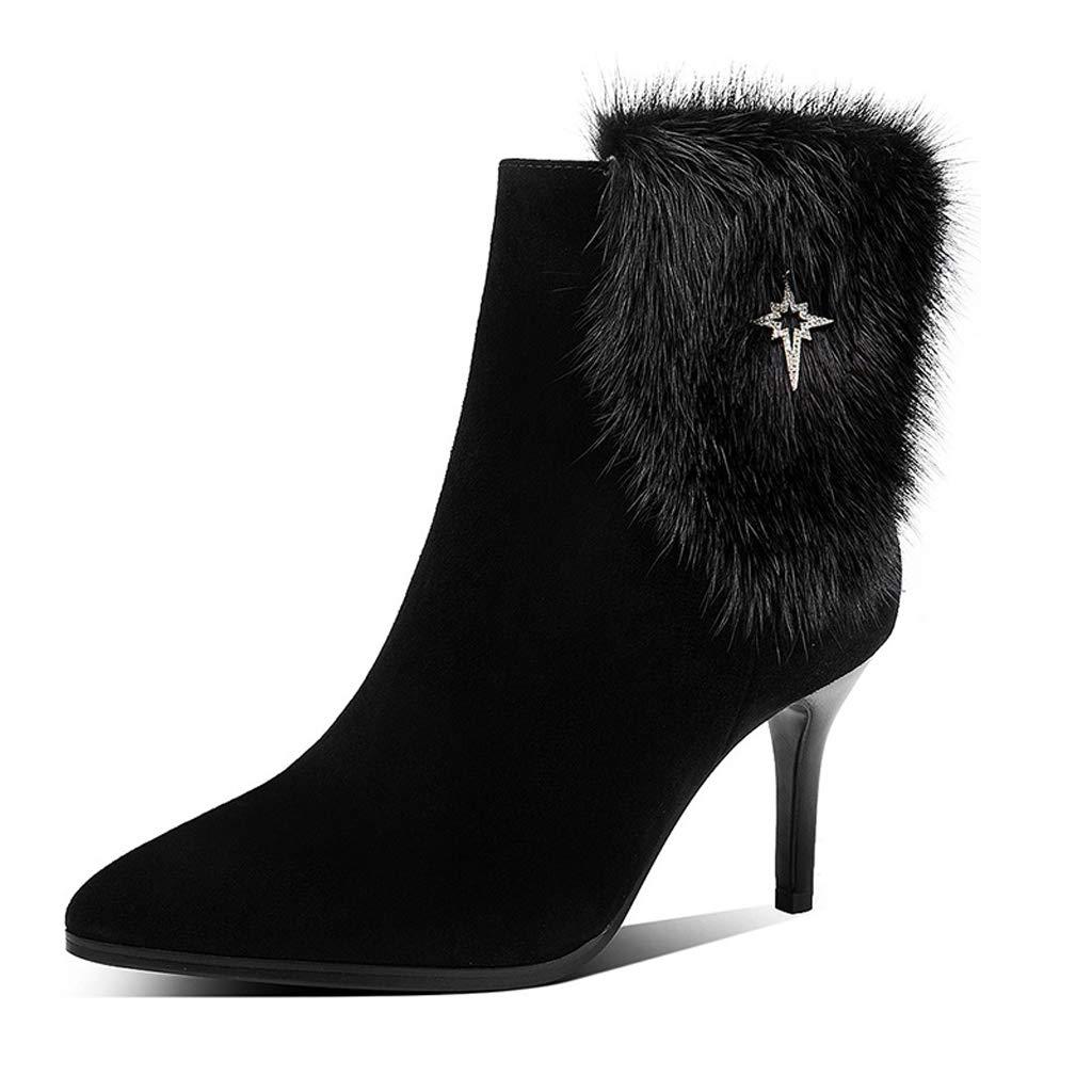 2018 Herbst und Winter Stiefel Frauen high Heel Stiletto Stiefel Frauen frühling und Herbst einzelne Stiefel Leder wies Mode plüsch Frauen Stiefel (Farbe   SCHWARZ, größe   40)