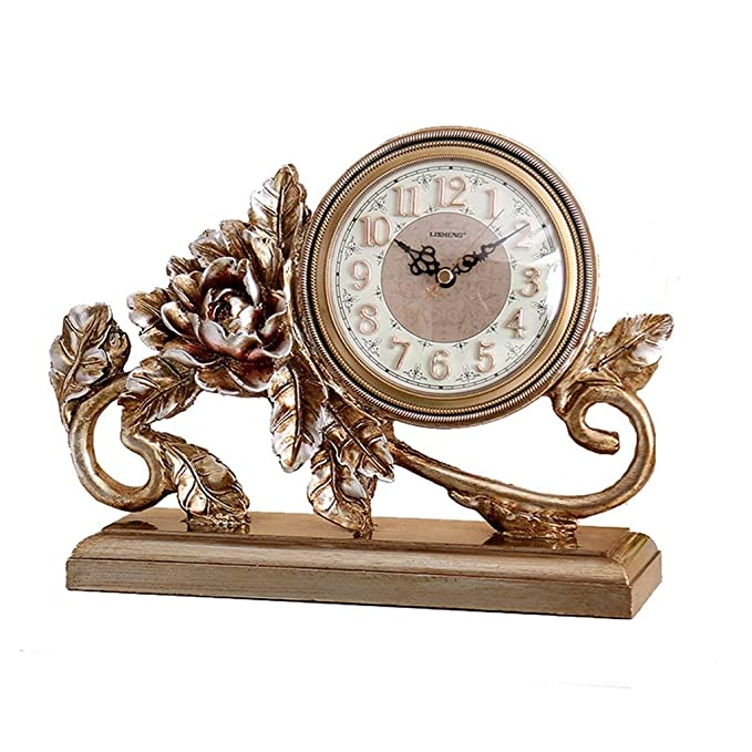 Amazon.com : Family Fireplace Clocks Rose Table Clock, Decoration ó n Clock Bedside Desk of Silent Decorative Retro Suitable for Living Room Office Bedroom ...