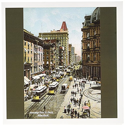 3dRose Broadway From St. Pauls New York City Street Scene with Trolley Cars - Greeting Cards, 6 x 6 inches, set of 12 (Broadway Trolley)