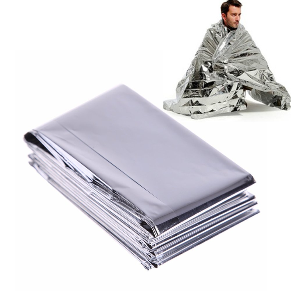 Nikgic Foil Emergency Blanket Survival Rescue Blankets First Aid Rescue Reflective 210x130cm