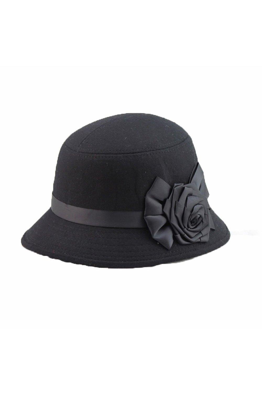 TOOGOO(R)Moda Elegante Mujeres Senoras Flores Rosa Sombrero del cubo Sombreros Negro