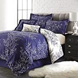 Spirit Linen Hotel 5Th Ave 6-Piece Foliage Collection Plush Reversible Comforter Set, King, Navy/Ivory