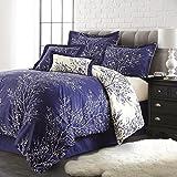 Spirit Linen Hotel 5Th Ave 6-Piece Foliage Collection Plush Reversible Comforter Set, King, Navy/Ivory