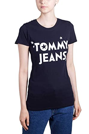Tommy Jeans T-shirt col rond blanc inscription jaune pour femme  Amazon.fr   Vêtements et accessoires ed4bdaffcad