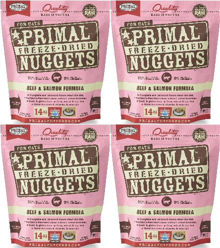 Primal Freeze-Dried Nuggets Beef & Salmon Formula for Cats 56oz (4 x 14oz) by Primal