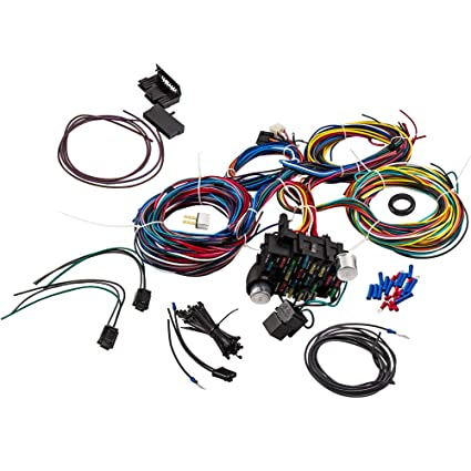 Amazon.com: 21 Circuit Wiring Harness 17 Fuses Street Hot rod ... on universal painless wiring harness, universal hot rod motor mounts, universal gm wiring harness, universal wiring harness diagram, universal hot water heaters for cars, universal wiring harness kit, universal hot rod mirrors,