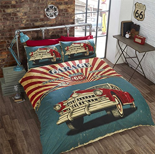 VINTAGE CAR AMERICAN FLAG ROUTE 66 USA TWIN COMFORTER COVER (135X200CM - UK SINGLE)