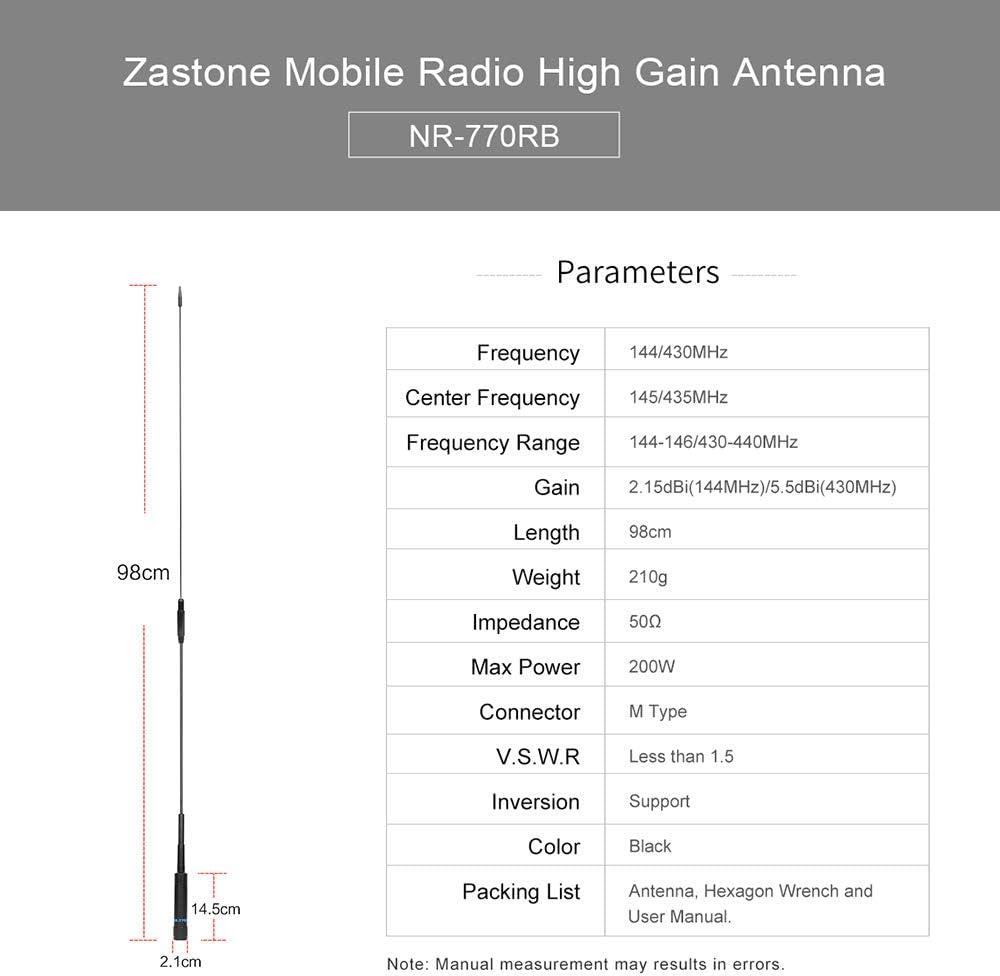 Zastone PHD669C Two Way Radio Antenna Dual Band Antenna 144//430MHz SMA-Female Antenna for Kenwood TYT BAOFENG UV-82 UV-B5 GT-3 BF-F8HP UV-5RA UV-5RE UV-5R Walkie Talkies