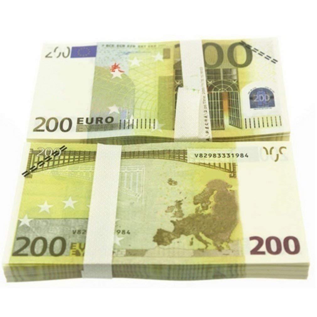 5 10 20 50 100 200 500 EUR Billetes de oro en papel moneda falso de oro de 24K para colección Conjuntos de billetes de euro (colorido 200 EURO)10pcs