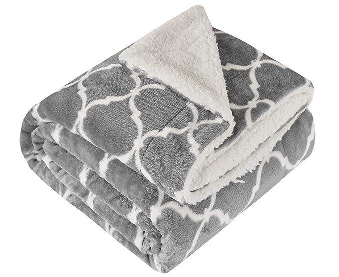 Manta de doble cara super suave, para cama y sofá, resistente a las arrugas y antidecoloración, poliéster, Gris, 150 x 200c m