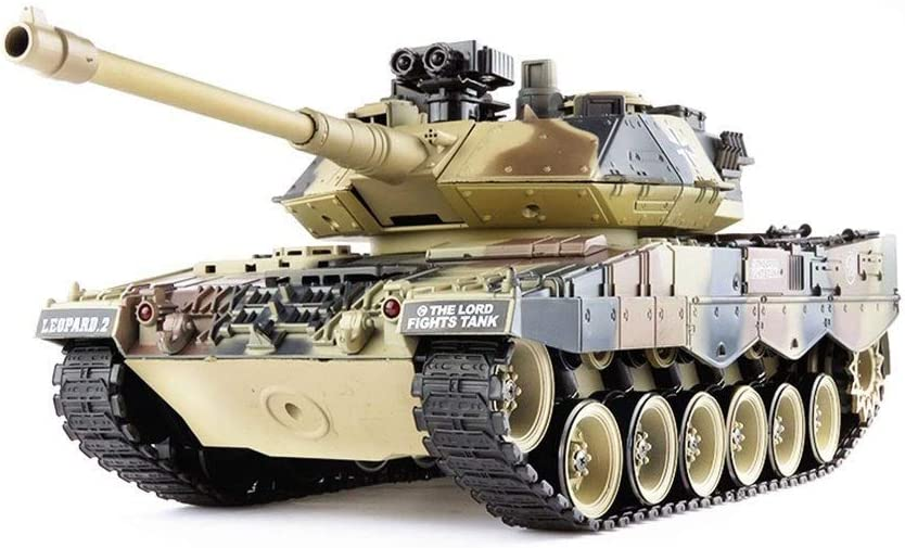 AEDWQ RC Remoto Del Tanque De Control, Alemán Leopard Tanque De 2,4 GHz De Control Remoto Modelo De Escala 1/20, Plástico Metal Track /, Simulado Retroceso Del Barril Telescopio /, Lanzamiento De Huev
