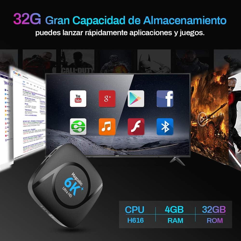 Android TV Box 10.0 Magcubic Smart TV Box 4GB RAM 32GB ROM Allwinner H616 Quad-Core Soporta 4k 6K 3D H.265 Dual WiFi 2.4G 5G BT5.0 USB2.0 Reproductor Streaming con Mini Teclado