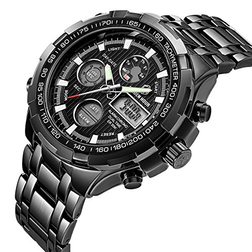 Chronograph Alarm Black Watch (Men's Digital Quartz Analog Sport Watches Stainless Steel Waterproof Wrist Watch Black)