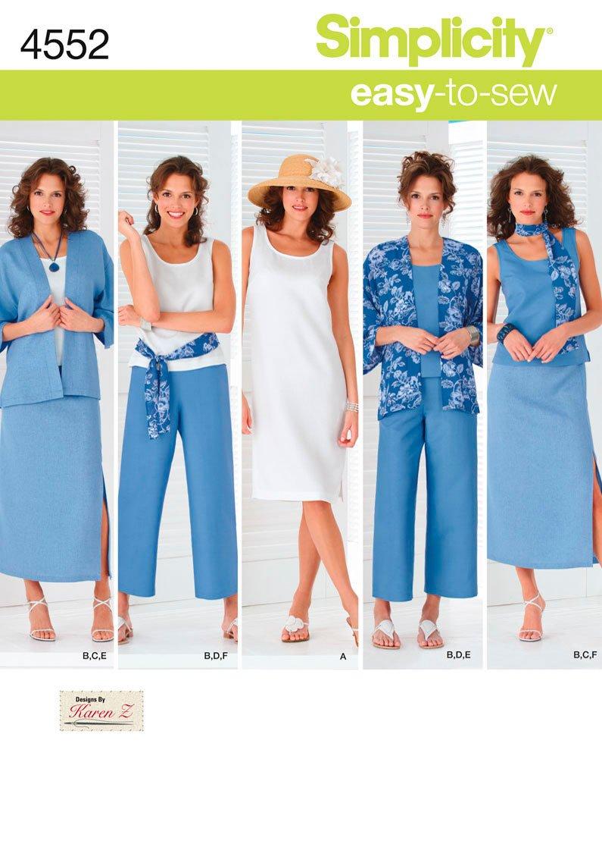Amazon.com: Simplicity Karen Z Easy-to-Sew Pattern 4552 Women\'s ...