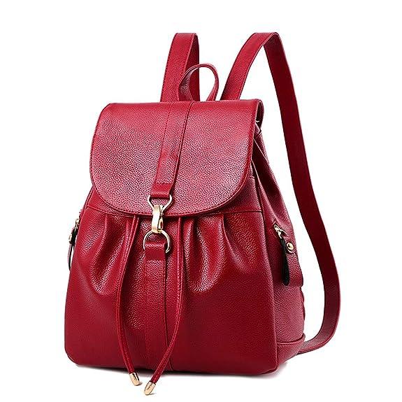 KARRESLY Women's Mini Backpack Purse PU Leather Rucksack Purse Ladies Casual Shoulder Bag School Bag for Girls (Red1)
