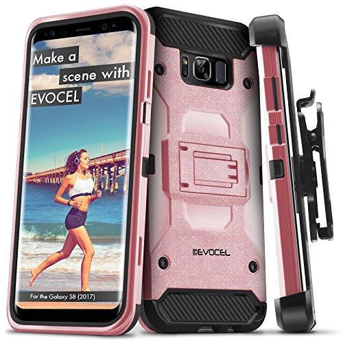Galaxy S8 Case , Evocel Trio Pro Premium Hybrid Tri-Layer Protector w/ Belt Clip (Rose Gold)