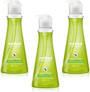 Method Liquid Dish Soap 18 oz. Dispenser | 3 Pack | Naturally Derived Dish and Hand Soap (Lime + Sea Salt)