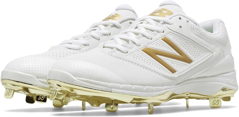 new balance white and gold softball