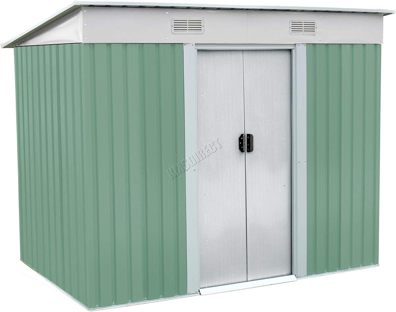 KMS FoxHunter – Cobertizo de Jardín Metal Pent Roof 4 ft x 6 ft exterior libre de almacenamiento con Foundation Luz Verde Y Crema: Amazon.es: Bricolaje y herramientas