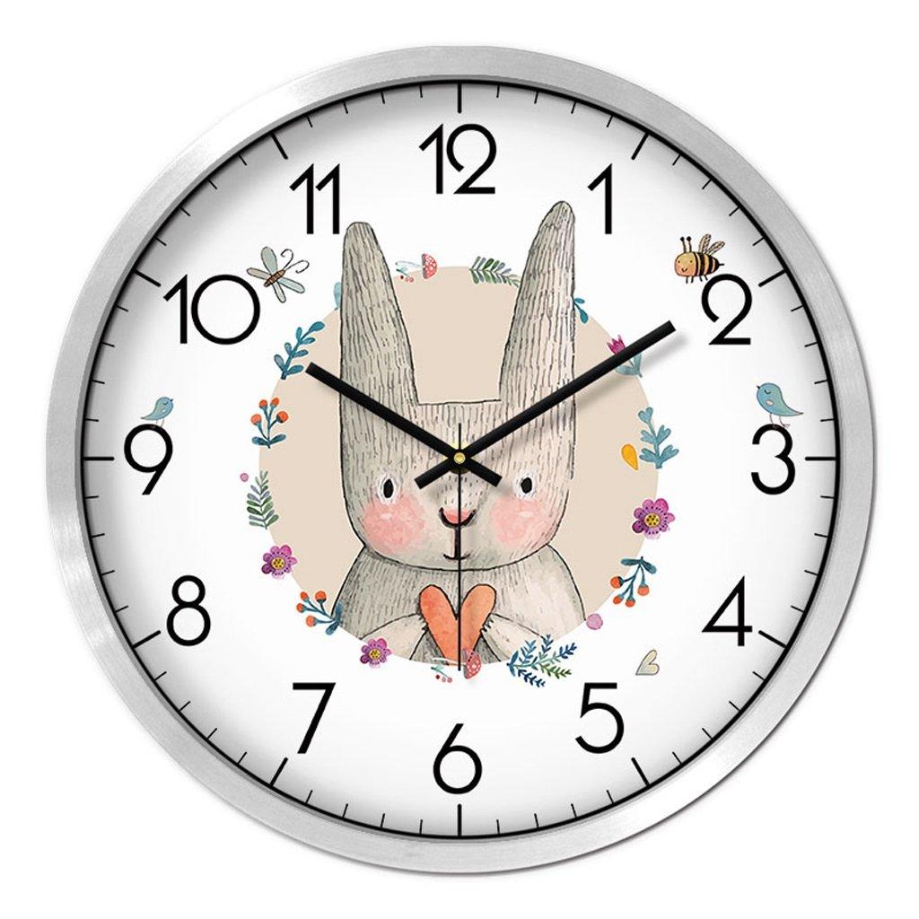 Unbekannt FANJIANI Stumm Wanduhr Persönlichkeit Cartoon Nette Uhr Kinderzimmer Stumm Kreative Uhr Quarzuhr Uhr Hängende Tabelle (Farbe : Silber, größe : 12 Zoll)