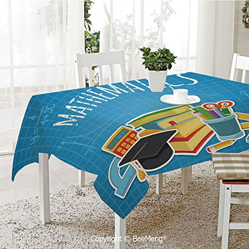 BeeMeng Large Family Picnic Tablecloth,Easy to Carry Outdoors,Mathematics Classroom Decor,Education Science Concept School College Supplies Set Books Cap Decorative,Multicolor,59 x 104 inches ()