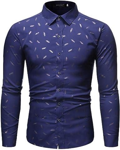 Rawdah Camisas Hombre Manga Larga Camisas Hombre Grandes Camisas Hombre Traje Slim Fit Camisas Casual Camisa de Manga Larga Estampada Hombres: Amazon.es: Ropa y accesorios