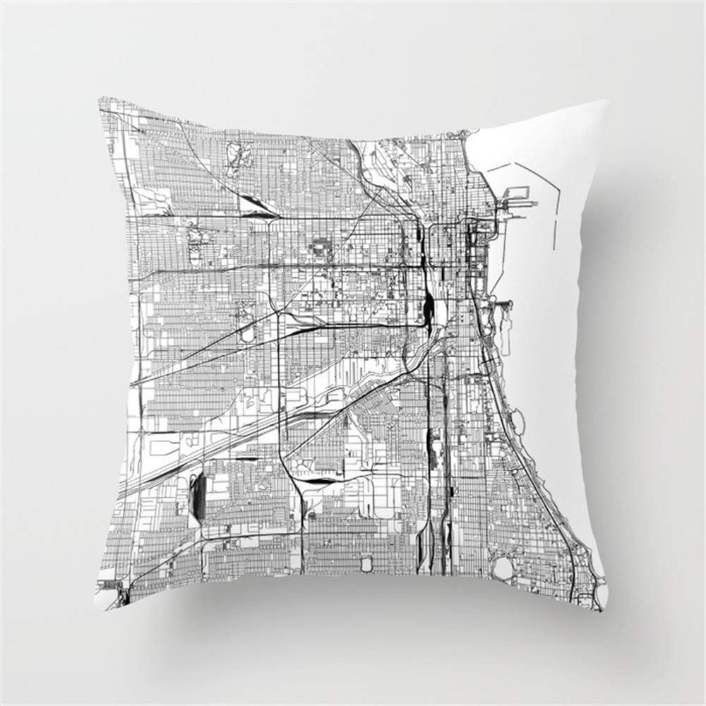 Shanzhi Chicago - Funda de cojín, diseño de mapamundi Blanco ...