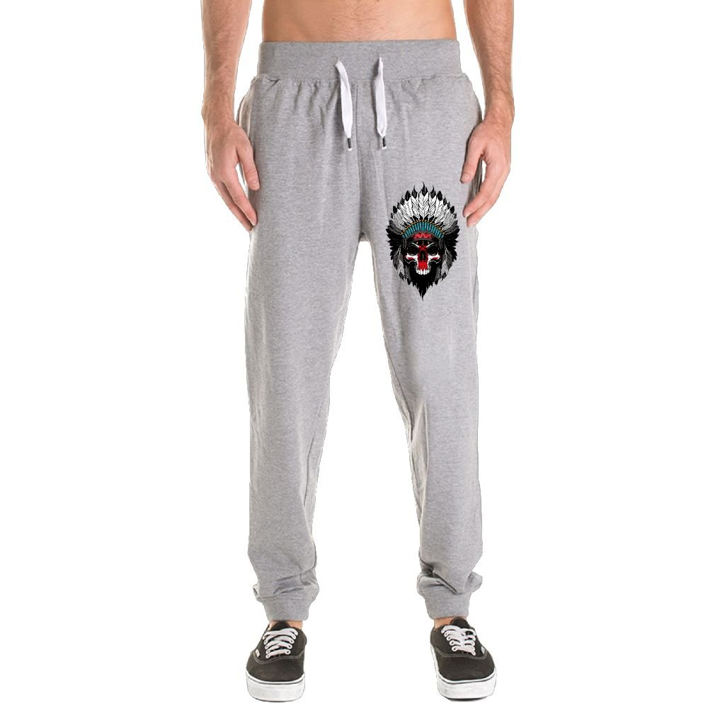 Indian Skull Men's Jogger Sweatpants Drawstring Elastic Waist Outdoor Running Trousers Pants With Pockets by Xianjingshui