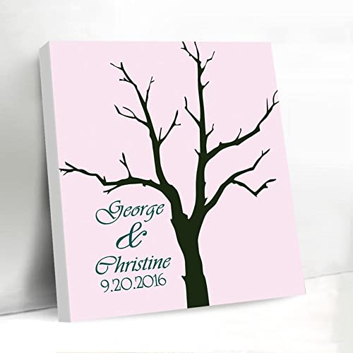 Amazon.com: Personalized Fingerprint Tree Wedding Guest Book Canvas ...