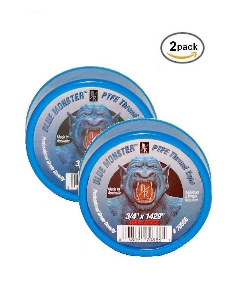 Milrose 70886 Blue Monster 3/4 Inch x 1429 Inch MDPE Blue Teflon Tape (2 Pack)