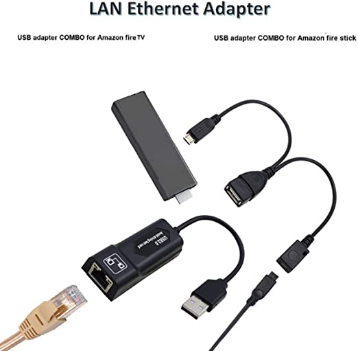 LAN Ethernet Adapter for AMAZON FIRE TV or STICK GEN 2 STOP THE BUFFERING
