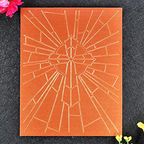 12.1x15.3cm Kwan Crafts 4 pcs Different Style Christmas Lighting Star Brick Wall Cross Plastic Embossing Folders for Card Making Scrapbooking and Other Paper Crafts