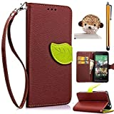 Sunroyal 3 in 1 Apple iPhone 5 5G 5S [ Creative Leaves Magnetic Series] Premium PU Leather Case Book Style Hand Strap Wallet Pouch Flip Bracket TPU Cover [Detachable Wrist Strap] [ Card Slot ] + 1x 3.5mm Crystal Bling Pendant Rhinestone Diamond Anti Dust plug + 1x Stylus Touch Pen ,Blown