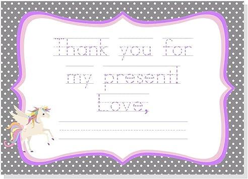 envelopes x 10 Personalised Girls Unicorn Thank you Note Cards