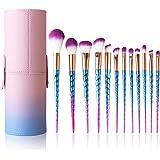 Pezzi Pennelli 12 Make up Set Unicorno Spazzola di Trucco Cosmetico Professionale Colorati Brushes Pennello per fondotinta ,Cipria, Correttore