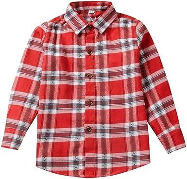 Shenye Camisas de cuadros de manga larga para niños y niñas de 2 a 10 años Beige B 7-8 años: Amazon.es: Ropa y accesorios