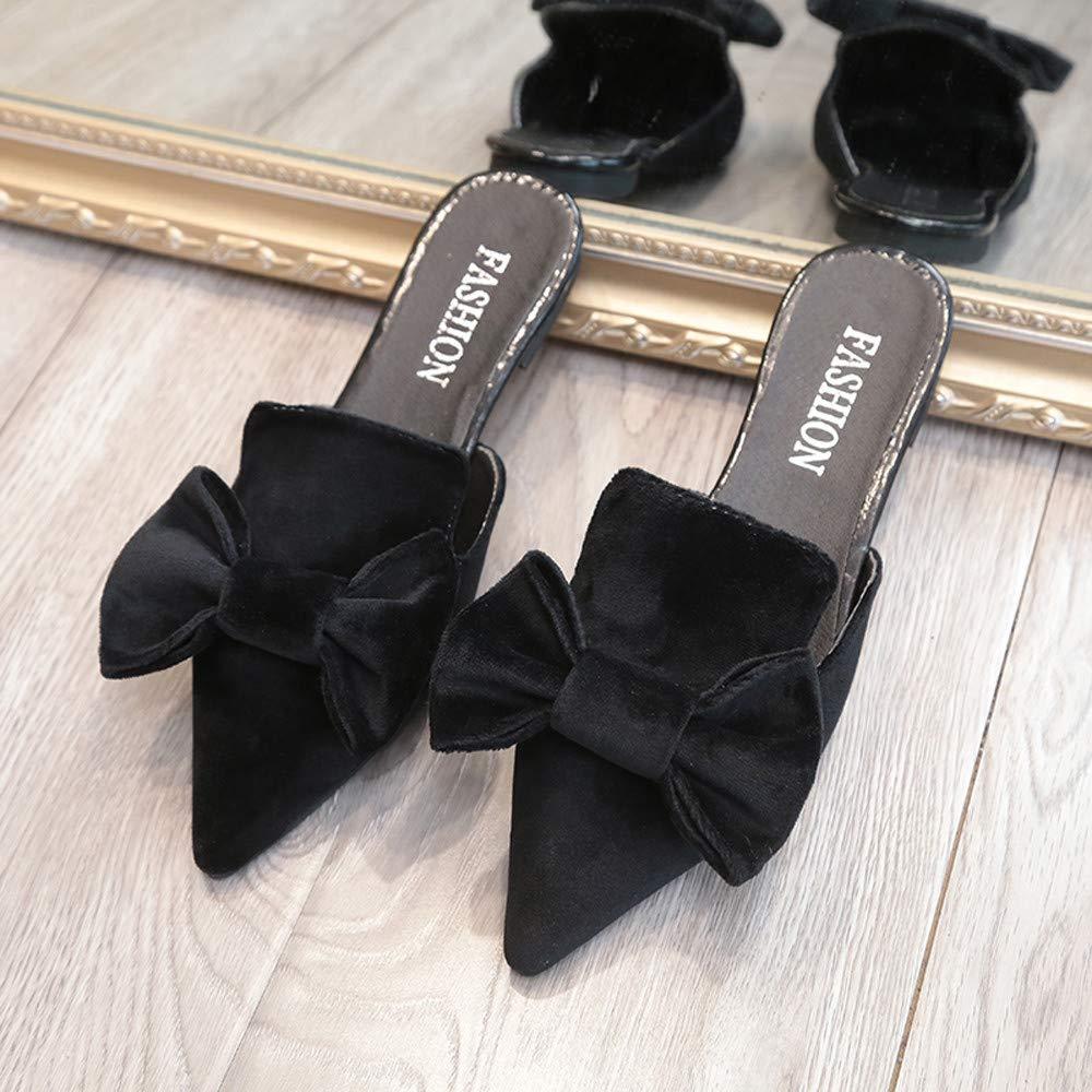 Femmes Mocassins,Derbies Mode Solide Couleur Bow Talon Plat Bout Pointu Sandales Slipper,Chaussures Plates