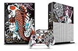 Designer Skin Sticker for the XBOX ONE S Console With Two Wireless Controller Decals - Tsunami