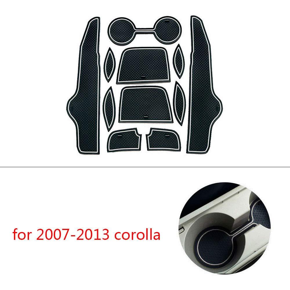 Maite For 2007-2013 Toyota Corolla Door Groove Mat Anti-dust Anti-Slip Door Gate Slot Storage Pad Cup Holder Cencer Console Mats Car Interior Decoration