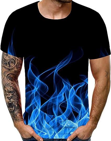 JSWBNMU 3D T-Shirt Stampato,Creative Unisex Fiamma Verde Stampato T Shirt Scollo Rotondo Pullover Casual Manica Corta Dimensione Plus Estate Magliette Tops Selvaggio di Moda Giovane Abbigliamento