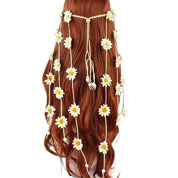 Amazon.com: Diadema de flores hippie girasol corona floral ...
