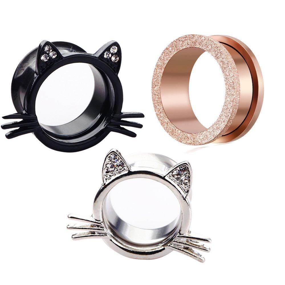 TIANCI FBYJS 3 Pair Rose-Gold Glitter Ear Plugs Tunnels Gauges Stretcher Piercings Silver Black Cat Shape Earring (10mm=00g(3pair))