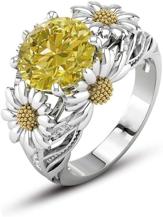 KWAEBG Anillos Joyas Color Plata Lindo Oro Girasol Cristal Anillos ...