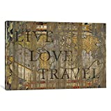 iCanvasART MXS15 Live Love Travel by Maximilian San Comics Canvas Print, 40 by 26-Inch, 0.75-Inch Deep